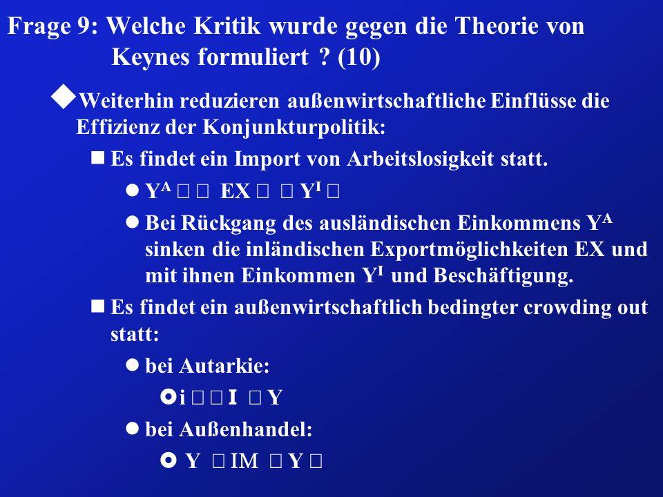 Frage 9: Welche Kritik wurde gegen die Theorie von Keynes formuliert ? (10) u Weiterhin reduzieren außenwirtschaftliche Einflüsse die Effizienz der Ko