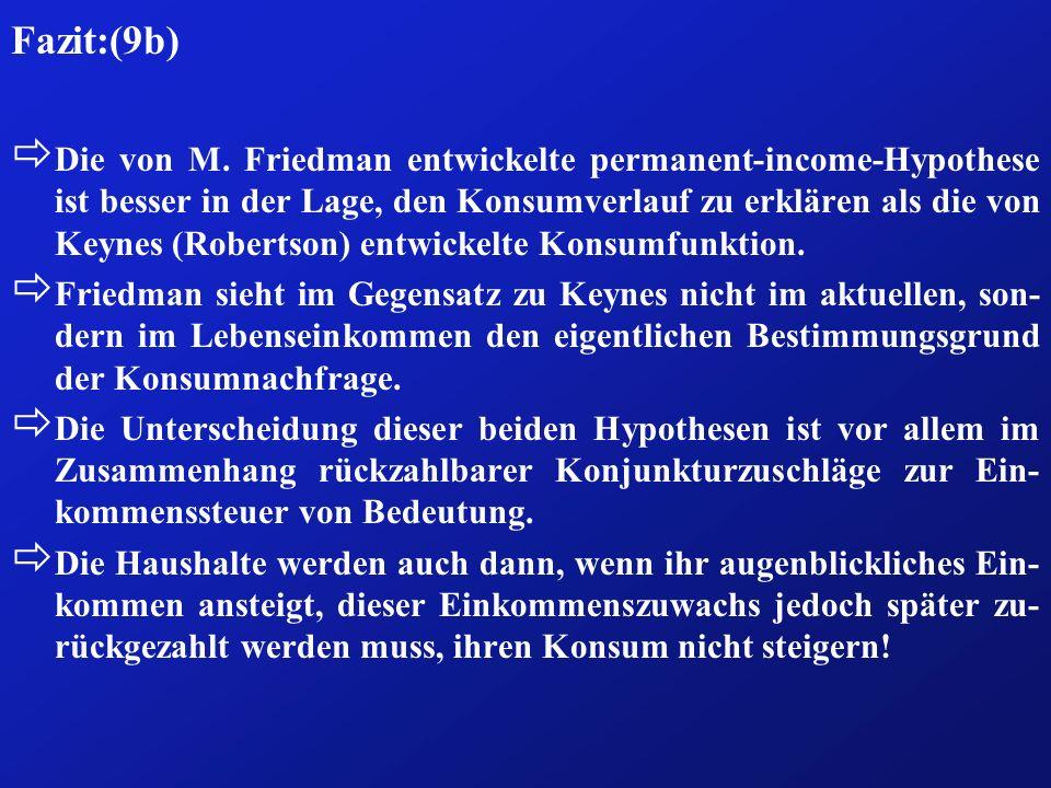 Fazit:(9b) ð Die von M. Friedman entwickelte permanent-income-Hypothese ist besser in der Lage, den Konsumverlauf zu erklären als die von Keynes (Robe