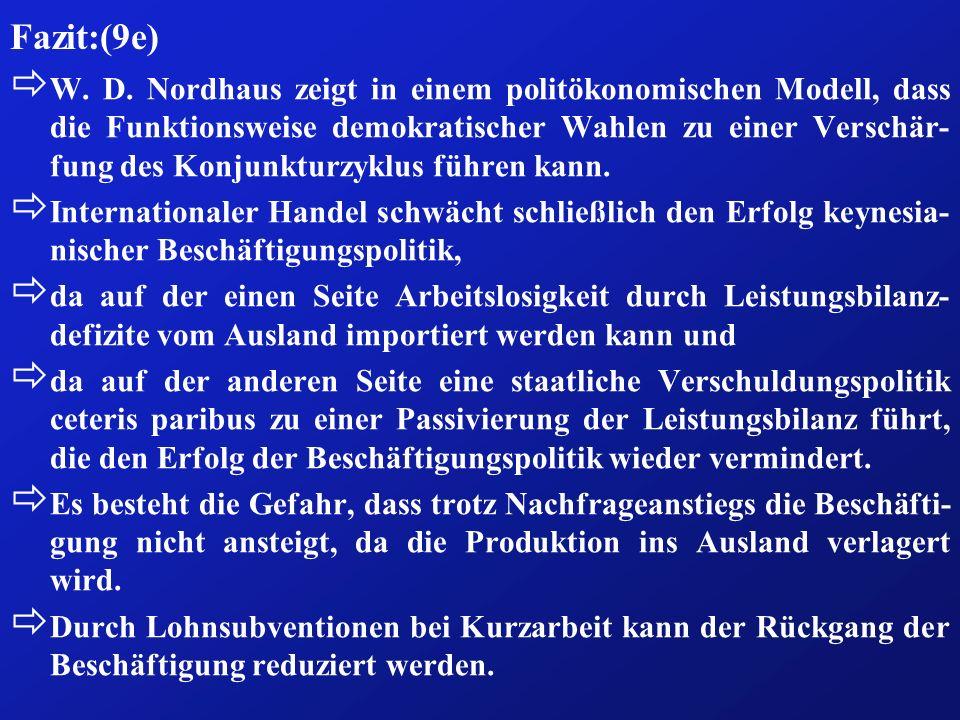 Fazit:(9e) ð W. D. Nordhaus zeigt in einem politökonomischen Modell, dass die Funktionsweise demokratischer Wahlen zu einer Verschär- fung des Konjunk