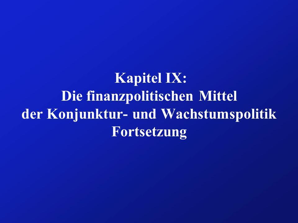 Kapitel IX: Die finanzpolitischen Mittel der Konjunktur- und Wachstumspolitik Fortsetzung