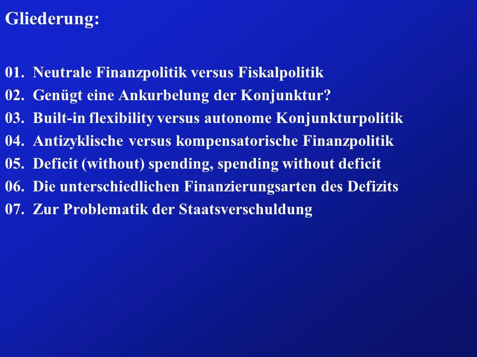 Fazit: (5b) ð Für welche dieser 3 Arten der kompensatorischen Fiskalpolitik sich der Staat entscheidet, hängt vor allem von drei Fragen ab: ð Wie unterscheiden sich die einzelnen Maßnahmen in ihrer quan- titativen Effizienz voneinander.