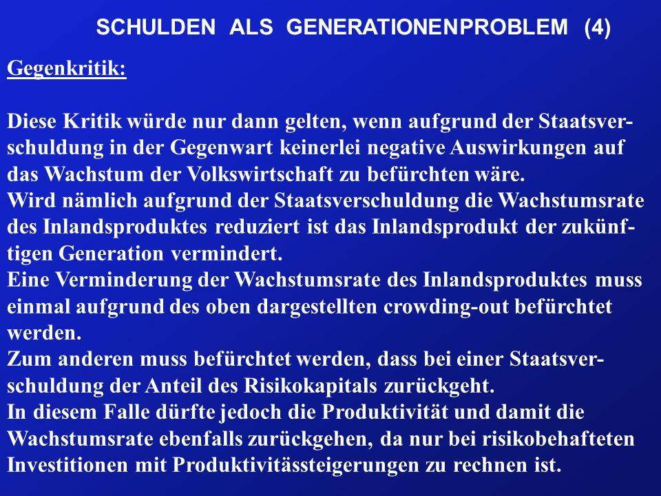 SCHULDEN ALS GENERATIONENPROBLEM (4) Gegenkritik: Diese Kritik würde nur dann gelten, wenn aufgrund der Staatsver- schuldung in der Gegenwart keinerlei negative Auswirkungen auf das Wachstum der Volkswirtschaft zu befürchten wäre.