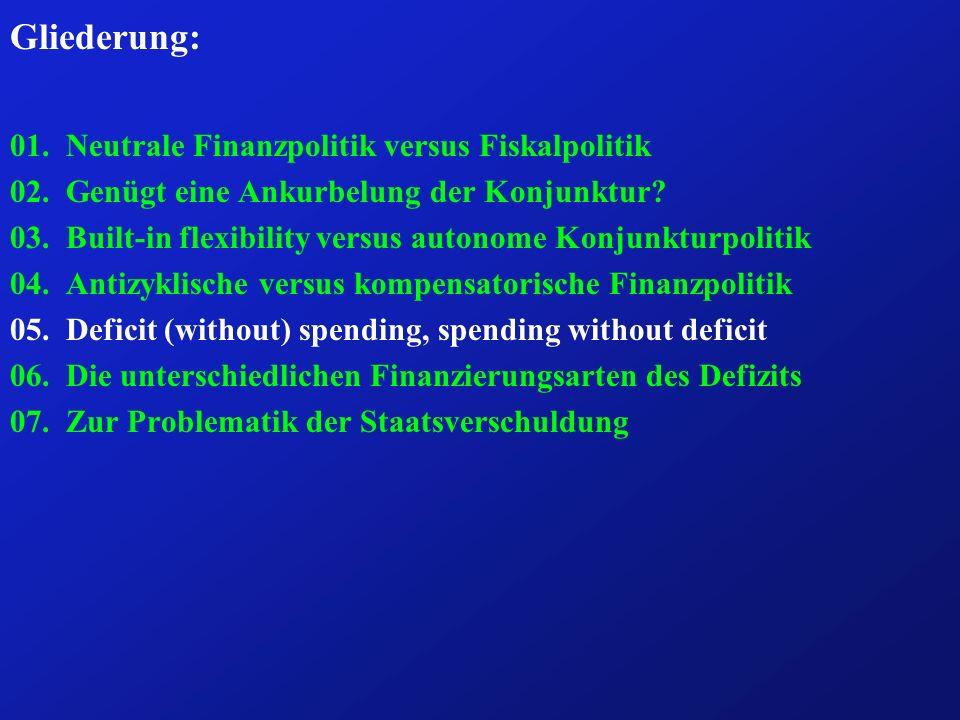 Frage 5: Wie unterscheiden sich das deficit spending vom deficit without spending und vom spending without deficit .