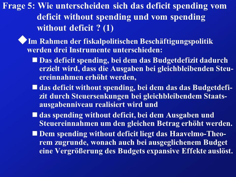 Frage 6: Auf welche Weise kann ein Defizit finanziert werden .