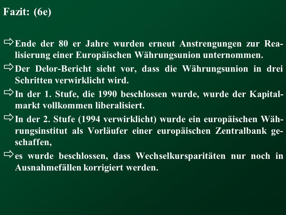 Fazit: (6e) Ende der 80 er Jahre wurden erneut Anstrengungen zur Rea- lisierung einer Europäischen Währungsunion unternommen. Der Delor-Bericht sieht