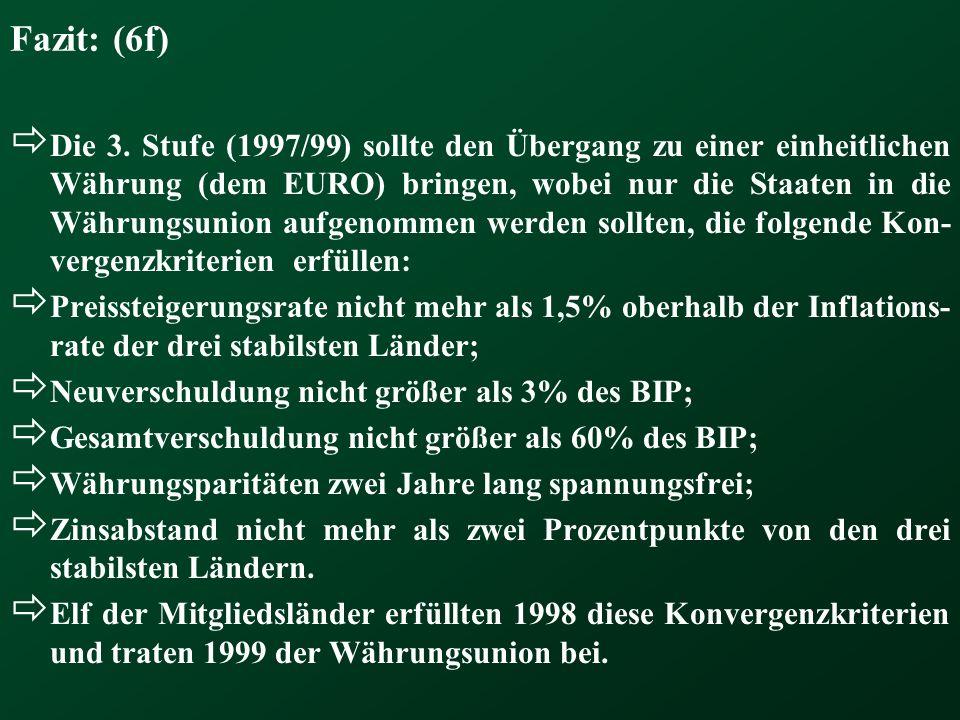 Fazit: (6f) Die 3. Stufe (1997/99) sollte den Übergang zu einer einheitlichen Währung (dem EURO) bringen, wobei nur die Staaten in die Währungsunion a