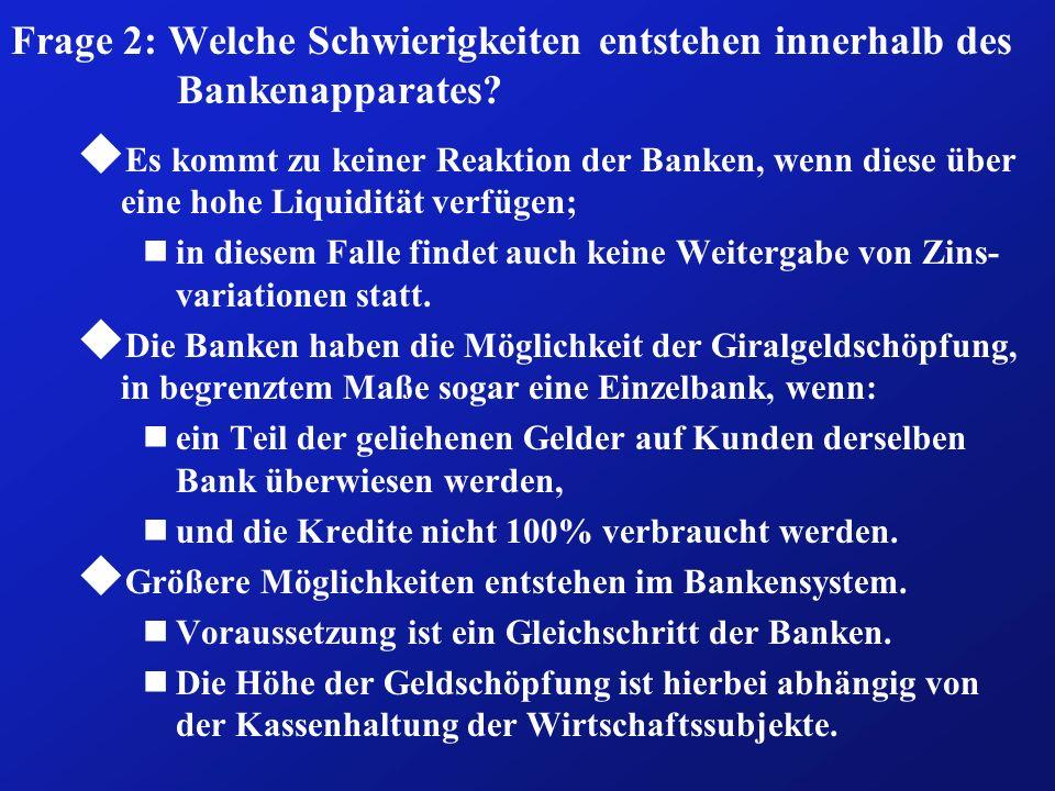 Frage 2: Welche Schwierigkeiten entstehen innerhalb des Bankenapparates? u Es kommt zu keiner Reaktion der Banken, wenn diese über eine hohe Liquiditä
