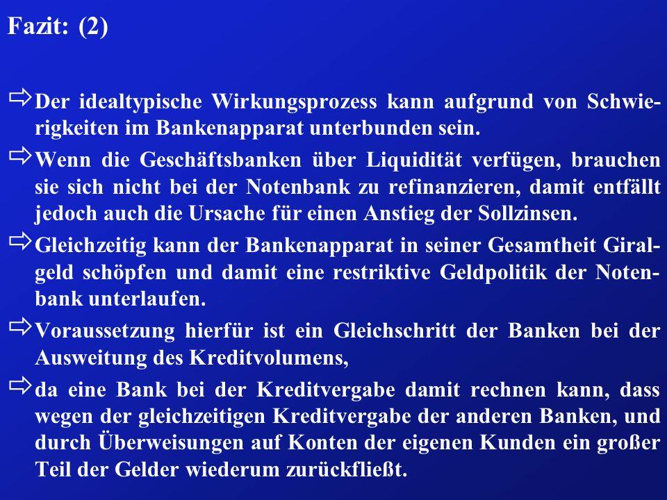 Fazit: (2) ð Der idealtypische Wirkungsprozess kann aufgrund von Schwie- rigkeiten im Bankenapparat unterbunden sein. ð Wenn die Geschäftsbanken über