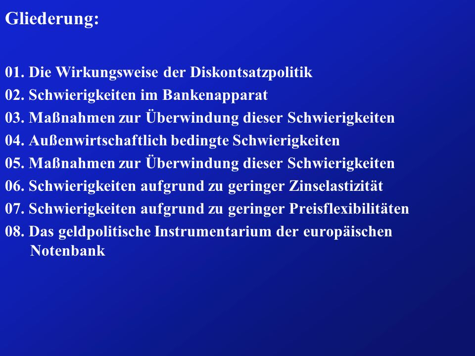 Gliederung: 01. Die Wirkungsweise der Diskontsatzpolitik 02. Schwierigkeiten im Bankenapparat 03. Maßnahmen zur Überwindung dieser Schwierigkeiten 04.