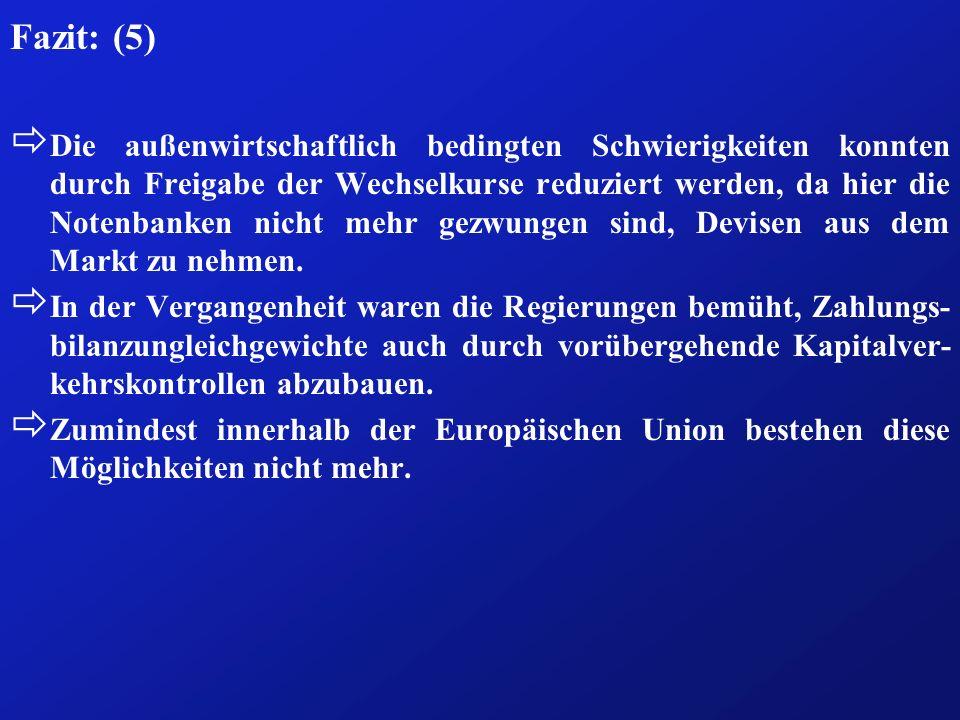 Fazit: (5) ð Die außenwirtschaftlich bedingten Schwierigkeiten konnten durch Freigabe der Wechselkurse reduziert werden, da hier die Notenbanken nicht