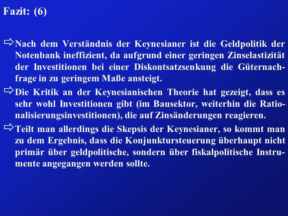 Fazit: (6) ð Nach dem Verständnis der Keynesianer ist die Geldpolitik der Notenbank ineffizient, da aufgrund einer geringen Zinselastizität der Invest