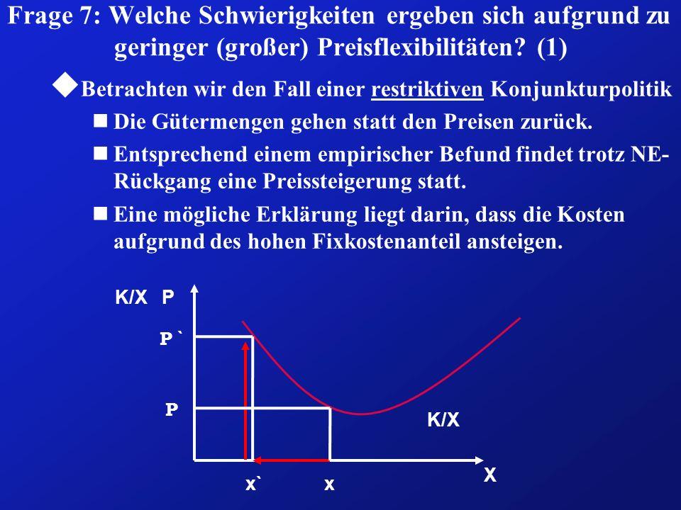Frage 7: Welche Schwierigkeiten ergeben sich aufgrund zu geringer (großer) Preisflexibilitäten? (1) u Betrachten wir den Fall einer restriktiven Konju