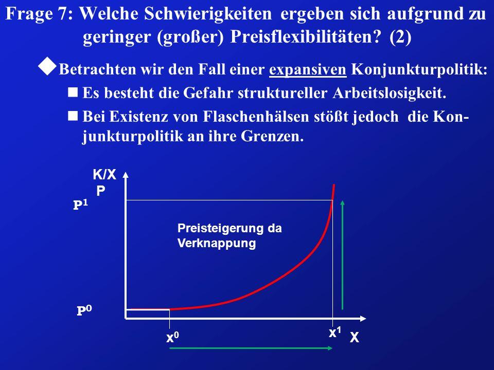 Frage 7: Welche Schwierigkeiten ergeben sich aufgrund zu geringer (großer) Preisflexibilitäten? (2) u Betrachten wir den Fall einer expansiven Konjunk