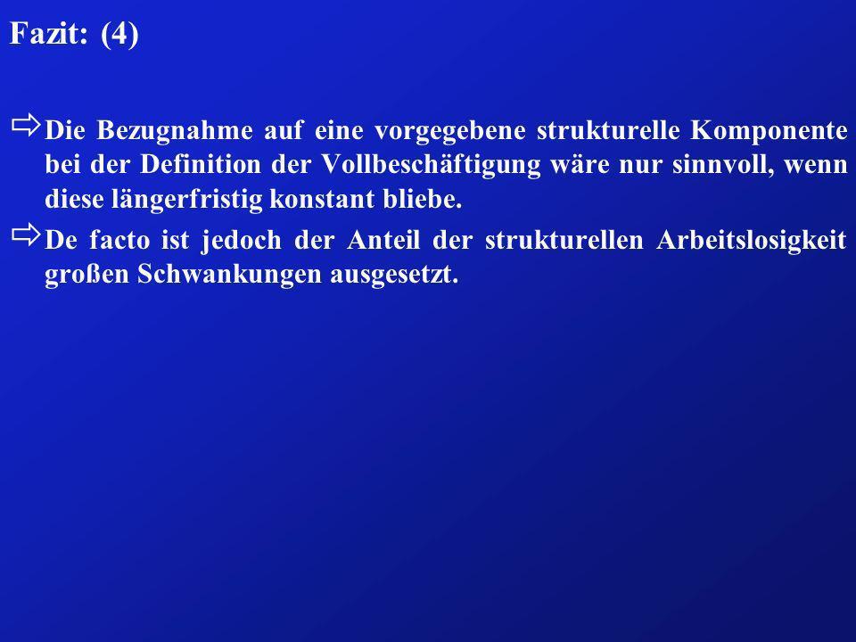 Fazit: (4) ð Die Bezugnahme auf eine vorgegebene strukturelle Komponente bei der Definition der Vollbeschäftigung wäre nur sinnvoll, wenn diese länger