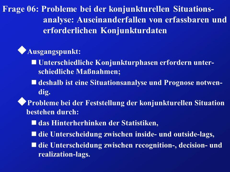 Frage 06: Probleme bei der konjunkturellen Situations- analyse: Auseinanderfallen von erfassbaren und erforderlichen Konjunkturdaten u Ausgangspunkt:
