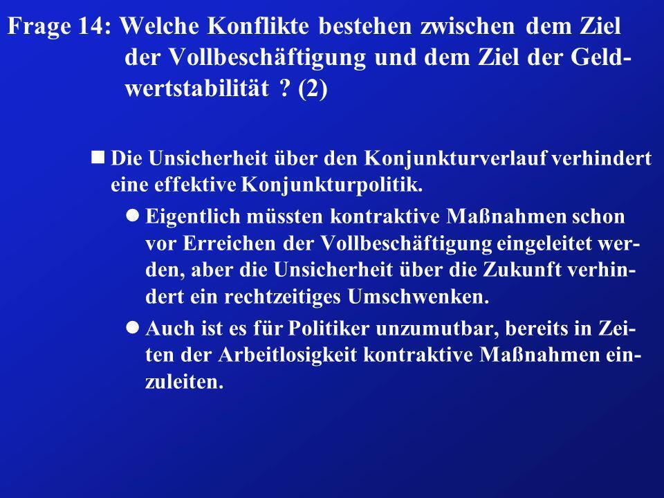 Frage 14: Welche Konflikte bestehen zwischen dem Ziel der Vollbeschäftigung und dem Ziel der Geld- wertstabilität ? (2) nDie Unsicherheit über den Kon