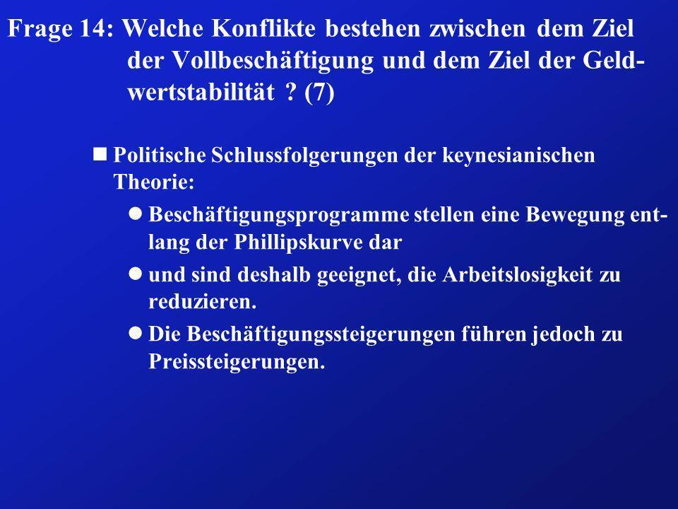 Frage 14: Welche Konflikte bestehen zwischen dem Ziel der Vollbeschäftigung und dem Ziel der Geld- wertstabilität ? (7) nPolitische Schlussfolgerungen