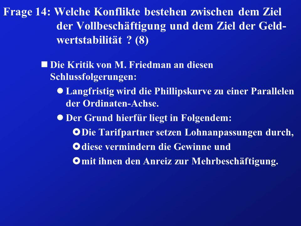 Frage 14: Welche Konflikte bestehen zwischen dem Ziel der Vollbeschäftigung und dem Ziel der Geld- wertstabilität ? (8) nDie Kritik von M. Friedman an