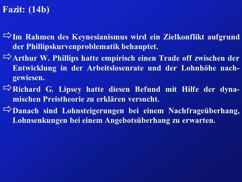 Fazit: (14b) ð Im Rahmen des Keynesianismus wird ein Zielkonflikt aufgrund der Phillipskurvenproblematik behauptet. ð Arthur W. Phillips hatte empiris