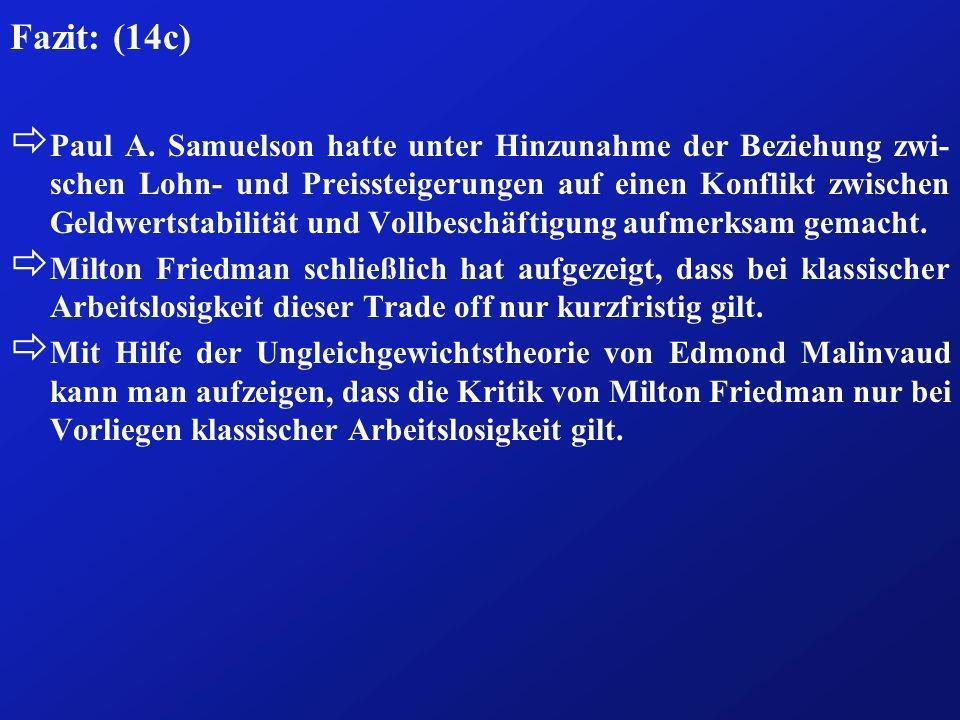 Fazit: (14c) ð Paul A. Samuelson hatte unter Hinzunahme der Beziehung zwi- schen Lohn- und Preissteigerungen auf einen Konflikt zwischen Geldwertstabi