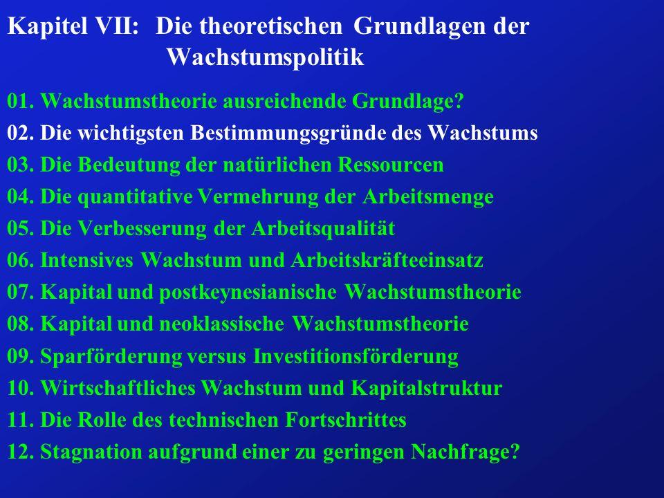 Fazit: (4) ð Das Arbeitskräftepotential einer Volkswirtschaft wird durch zahlreiche Determinanten bestimmt: ð Geburten- und Sterberate, Nettosaldo der Wanderungen, Ein- und Austrittsalter in bzw.