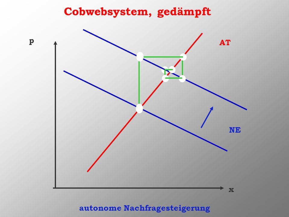 Cobwebsystem, gedämpft x p AT NE autonome Nachfragesteigerung