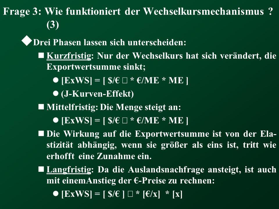 Frage 3: Wie funktioniert der Wechselkursmechanismus ? (3) Drei Phasen lassen sich unterscheiden: Kurzfristig: Nur der Wechselkurs hat sich verändert,