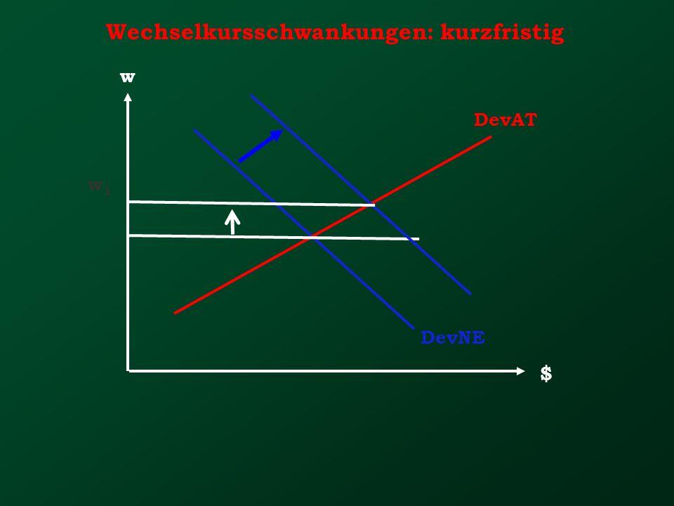 Wechselkursschwankungen: kurzfristig w $ DevNE DevAT w1w1