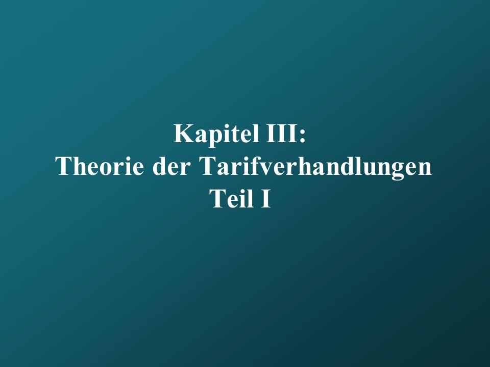 Kapitel III: Theorie der Tarifverhandlungen Teil I