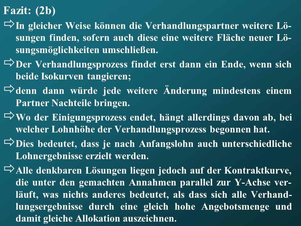 Fazit: (2b) In gleicher Weise können die Verhandlungspartner weitere Lö- sungen finden, sofern auch diese eine weitere Fläche neuer Lö- sungsmöglichke