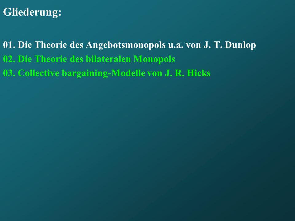 Gliederung: 01. Die Theorie des Angebotsmonopols u.a. von J. T. Dunlop 02. Die Theorie des bilateralen Monopols 03. Collective bargaining-Modelle von