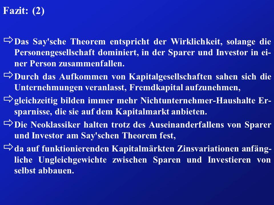 Fazit: (2) ð Das Say'sche Theorem entspricht der Wirklichkeit, solange die Personengesellschaft dominiert, in der Sparer und Investor in ei- ner Perso