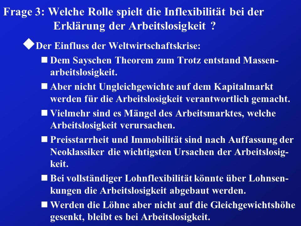 Frage 3: Welche Rolle spielt die Inflexibilität bei der Erklärung der Arbeitslosigkeit ? u Der Einfluss der Weltwirtschaftskrise: nDem Sayschen Theore