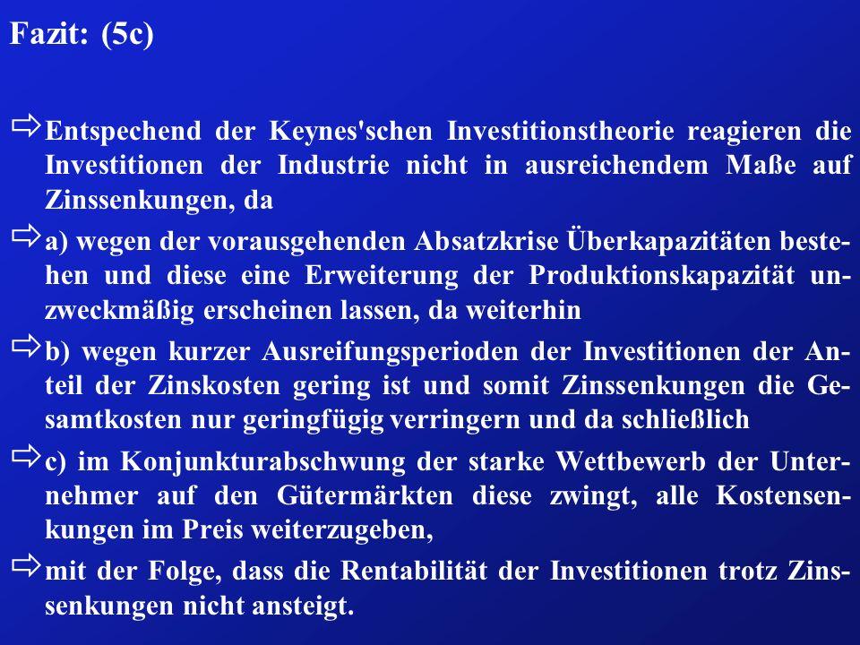 Fazit: (5c) ð Entspechend der Keynes'schen Investitionstheorie reagieren die Investitionen der Industrie nicht in ausreichendem Maße auf Zinssenkungen