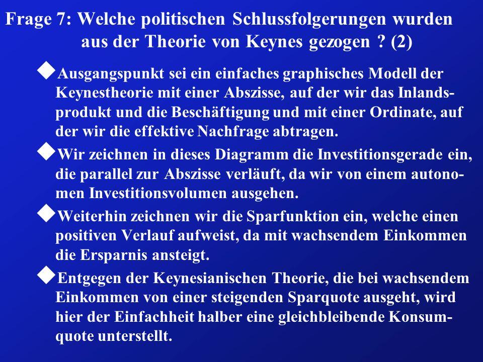 Frage 7: Welche politischen Schlussfolgerungen wurden aus der Theorie von Keynes gezogen ? (2) u Ausgangspunkt sei ein einfaches graphisches Modell de