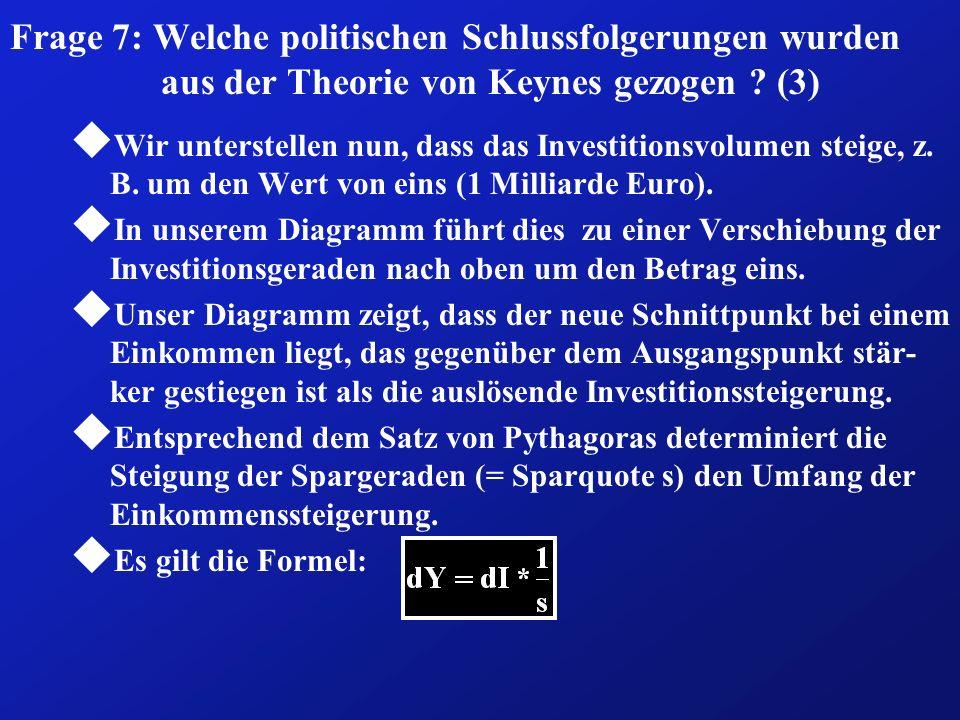 Frage 7: Welche politischen Schlussfolgerungen wurden aus der Theorie von Keynes gezogen ? (3) u Wir unterstellen nun, dass das Investitionsvolumen st