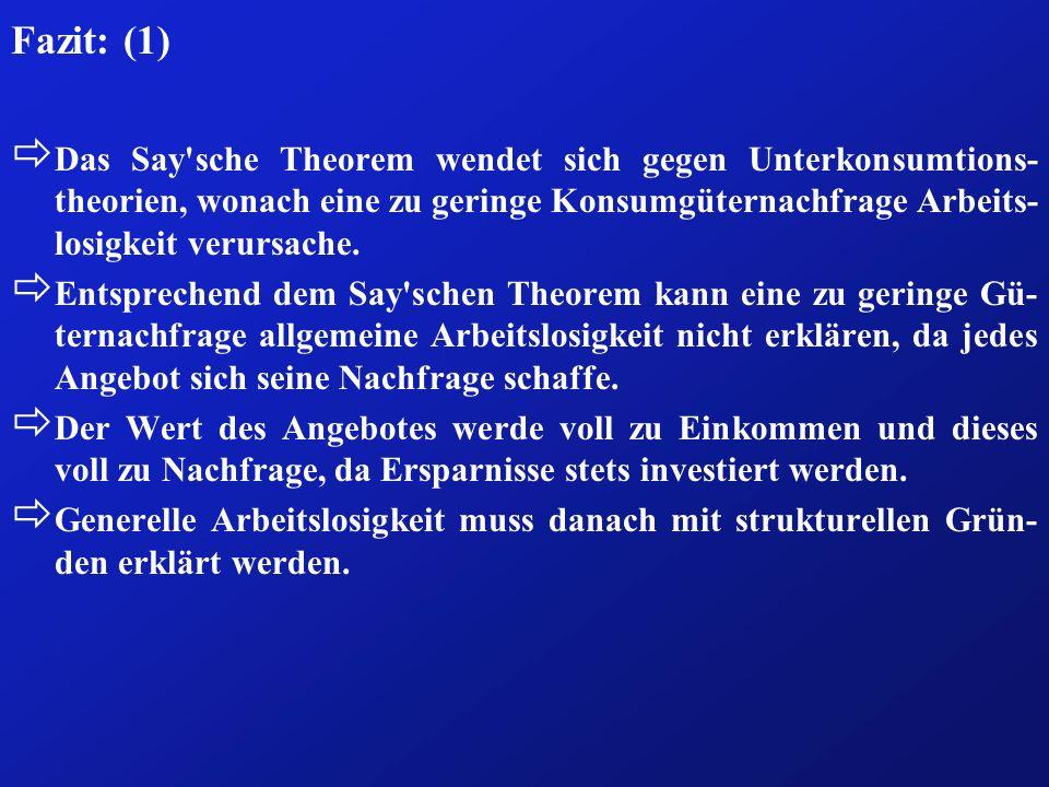 Fazit: (1) ð Das Say'sche Theorem wendet sich gegen Unterkonsumtions- theorien, wonach eine zu geringe Konsumgüternachfrage Arbeits- losigkeit verursa
