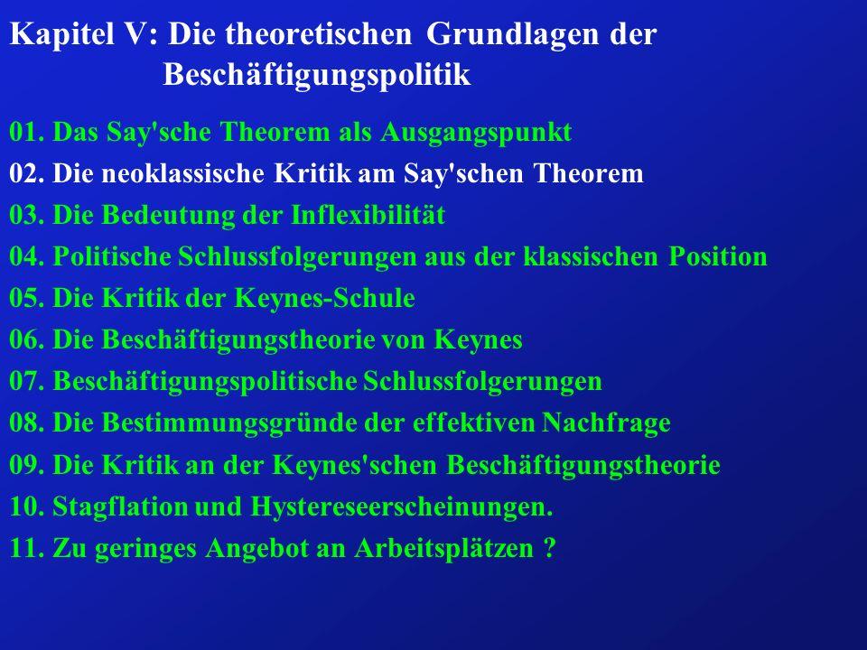 Kapitel V: Die theoretischen Grundlagen der Beschäftigungspolitik 01.