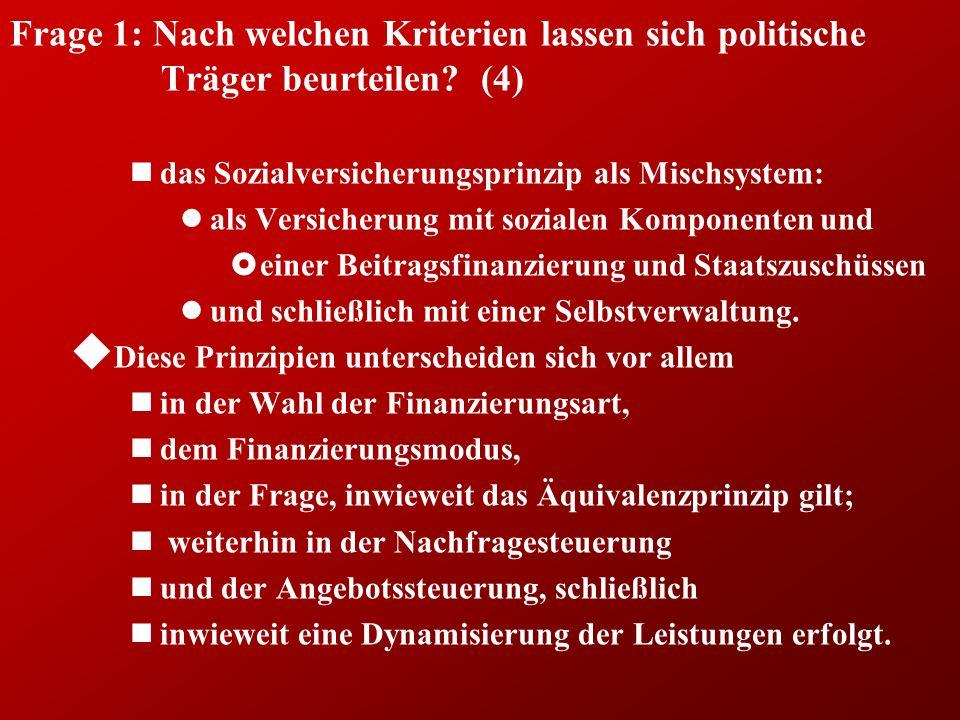 Frage 1: Nach welchen Kriterien lassen sich politische Träger beurteilen.