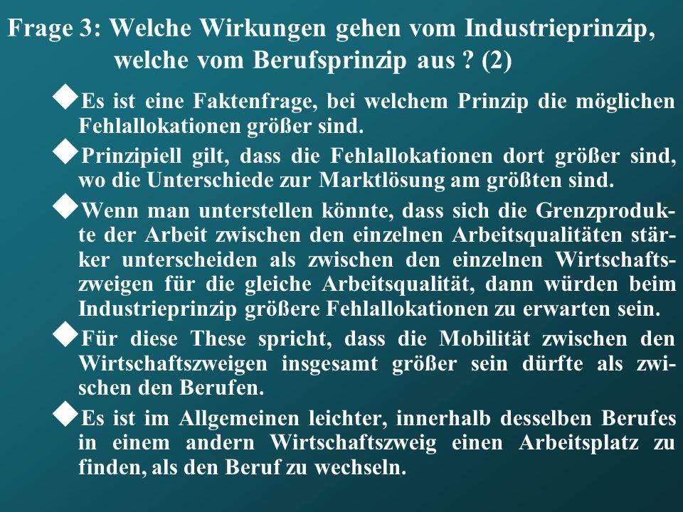 Frage 3: Welche Wirkungen gehen vom Industrieprinzip, welche vom Berufsprinzip aus ? (2) Es ist eine Faktenfrage, bei welchem Prinzip die möglichen Fe