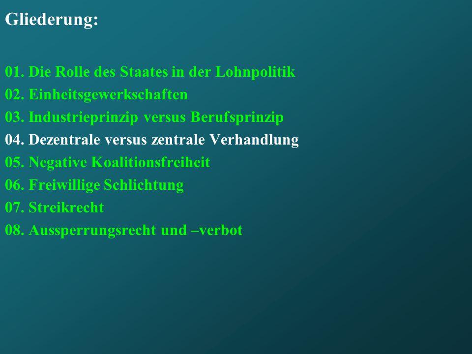 Gliederung: 01. Die Rolle des Staates in der Lohnpolitik 02. Einheitsgewerkschaften 03. Industrieprinzip versus Berufsprinzip 04. Dezentrale versus ze