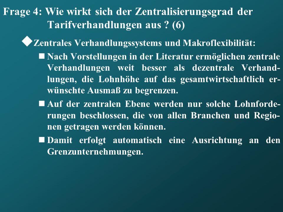 Frage 4: Wie wirkt sich der Zentralisierungsgrad der Tarifverhandlungen aus ? (6) Zentrales Verhandlungssystems und Makroflexibilität: Nach Vorstellun