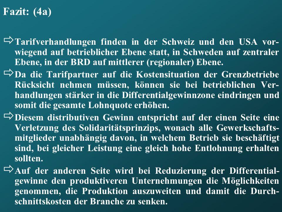 Fazit: (4a) Tarifverhandlungen finden in der Schweiz und den USA vor- wiegend auf betrieblicher Ebene statt, in Schweden auf zentraler Ebene, in der B