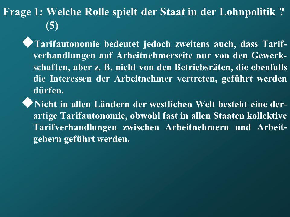 Gliederung: 01.Die Rolle des Staates in der Lohnpolitik 02.