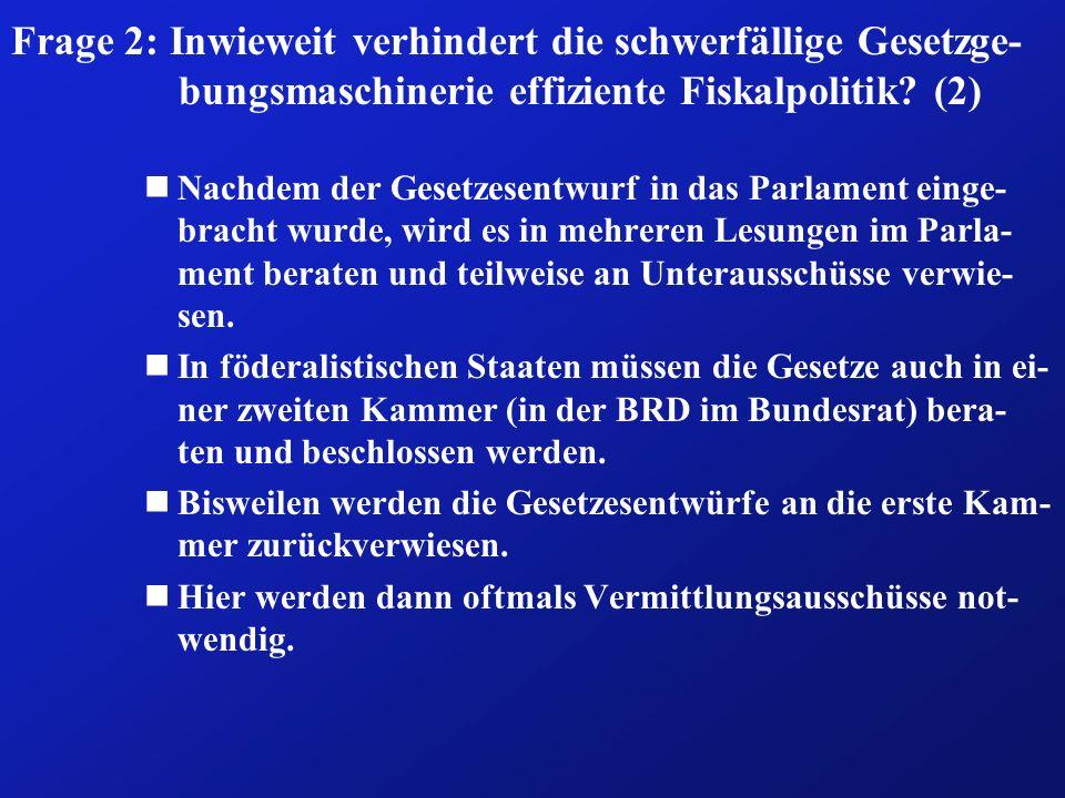 Frage 2: Inwieweit verhindert die schwerfällige Gesetzge- bungsmaschinerie effiziente Fiskalpolitik? (2) nNachdem der Gesetzesentwurf in das Parlament
