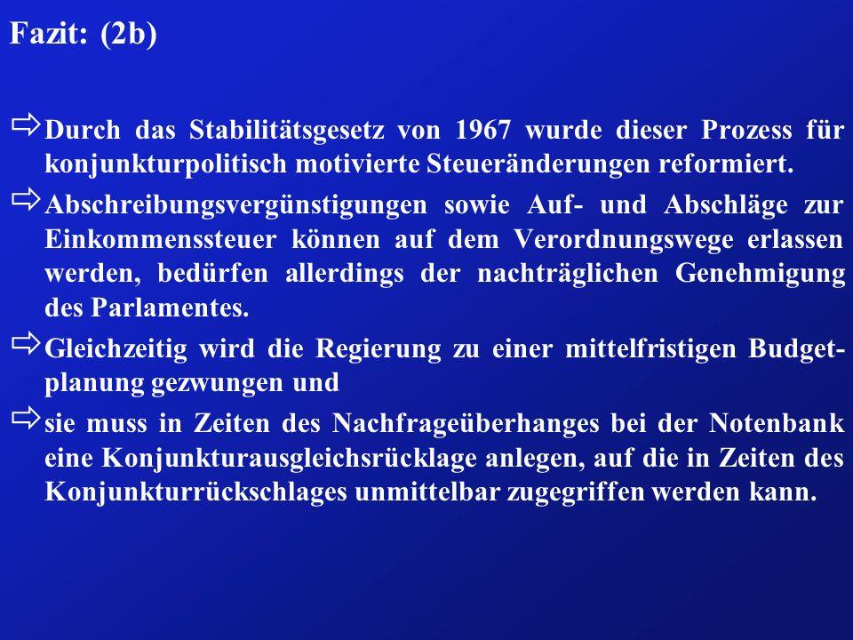 Fazit: (2b) ð Durch das Stabilitätsgesetz von 1967 wurde dieser Prozess für konjunkturpolitisch motivierte Steueränderungen reformiert. ð Abschreibung