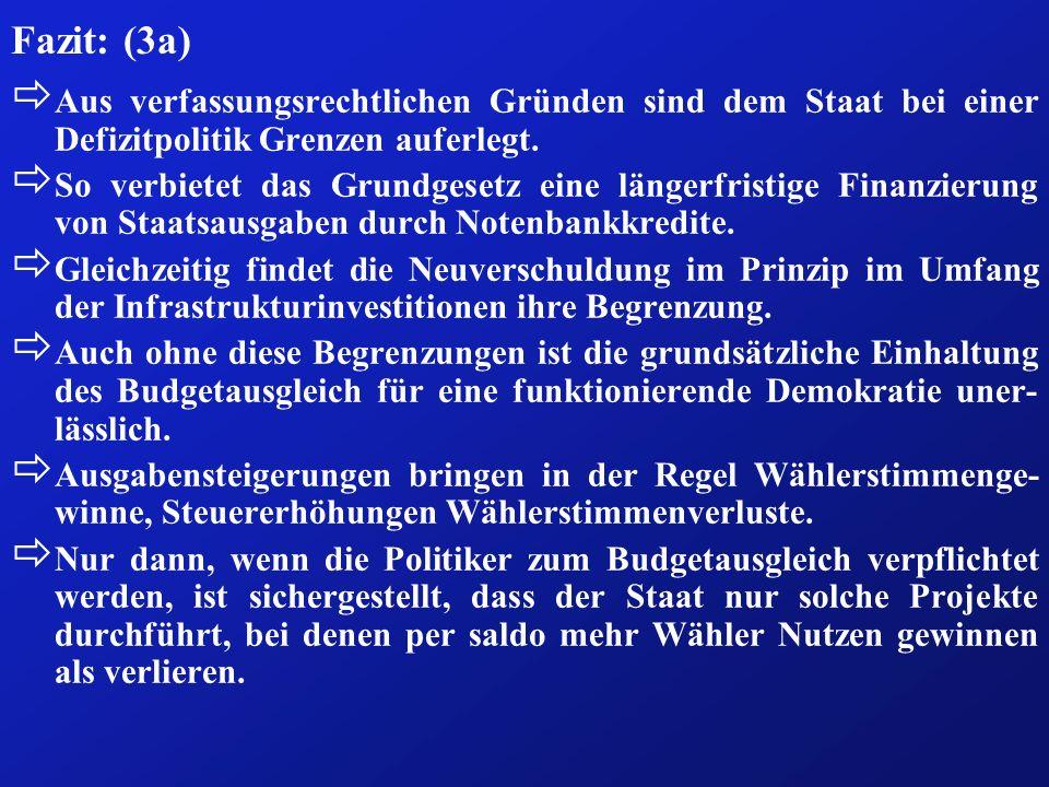 Fazit: (3a) ð Aus verfassungsrechtlichen Gründen sind dem Staat bei einer Defizitpolitik Grenzen auferlegt. ð So verbietet das Grundgesetz eine länger