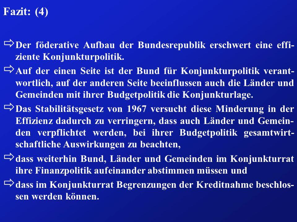 Fazit: (4) ð Der föderative Aufbau der Bundesrepublik erschwert eine effi- ziente Konjunkturpolitik. ð Auf der einen Seite ist der Bund für Konjunktur