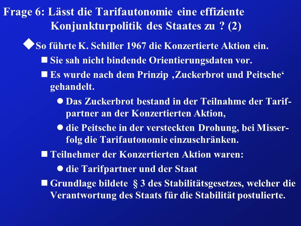 Frage 6: Lässt die Tarifautonomie eine effiziente Konjunkturpolitik des Staates zu ? (2) u So führte K. Schiller 1967 die Konzertierte Aktion ein. nSi