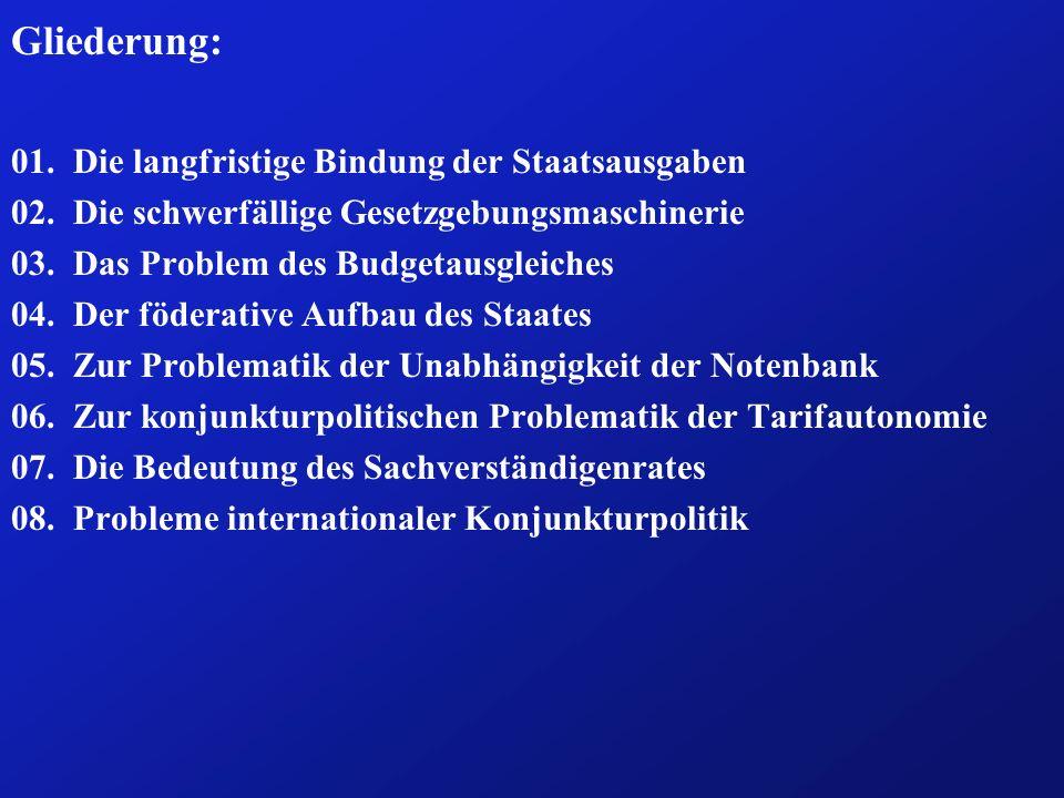 Fazit: (2b) ð Durch das Stabilitätsgesetz von 1967 wurde dieser Prozess für konjunkturpolitisch motivierte Steueränderungen reformiert.
